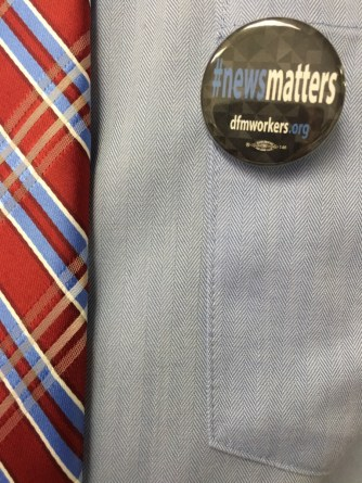 Sporting #newsmatters buttons, standing up for fair wages and conditions at Delaware County Times.