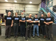 Dave Kunz, Jeff Humphrey, Eriks Rumberge, Joe Kandalec (machinists) Martyn Botten (dispatch clerk) Chris Wint (electrician)