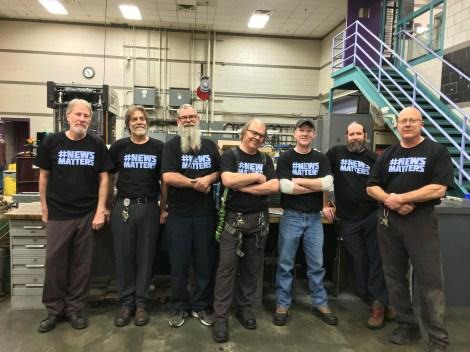 Dave Kunz, Jeff Humphrey, Eriks Rumberge, Joe Kandalec (machinists) Martyn Botten (dispatch clerk) Chris Wint (electrician)