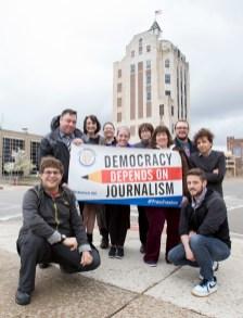 Rockford Newspaper Guild outside of the Rockford Register Star news tower.