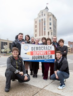 Rockford Newspaper Guild outside of the Rockford Register Star news tower.