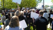 Crowd at the Denver Post rally. Photo by Dani Day