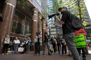 Denver Post reporter Joe Rubino lends his voice to a protest outside Alden Global Capitol headquarters in New York City, Tuesday, May 8, 2018. (Photograph by Karl Mondon)