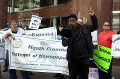 Reporter George Kelly of the East Bay Times calls out the shame of the Alden Global Capitol owners in their headquarters in New York City, Tuesday, May 8, 2018. (Photograph by Karl Mondon)