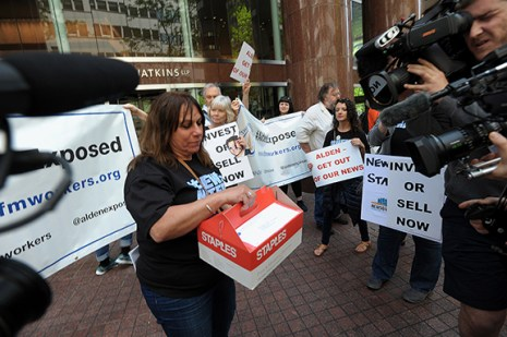 A box of petitions are delivered to Alden Global Capitol at their headquarters in New York City, Tuesday, May 8, 2018. (Photograph by Karl Mondon)