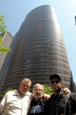 Bay Area News Group colleagues Thomas Peele, Karl Mondon, and George Kelly flew 3000 miles to protest alongside other Digital First Media journalists at Alden Global Capitol headquarters in New York City, Tuesday, May 8, 2018. (Photograph by Karl Mondon)