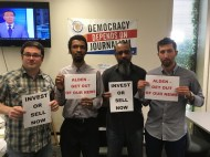 Trentonian staff writers (L to R) David Foster, Sulaiman Abdur-Rahman, Penny Ray and Isaac Avilucea stand with their brothers and sisters at The Denver Post in their fight against Alden Global.