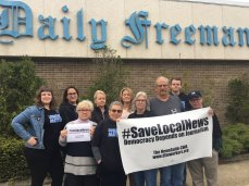 News workers at the Alden-controlled paper in Kingston, New York, rally to save local news on World Press Freedom Day, May 3.