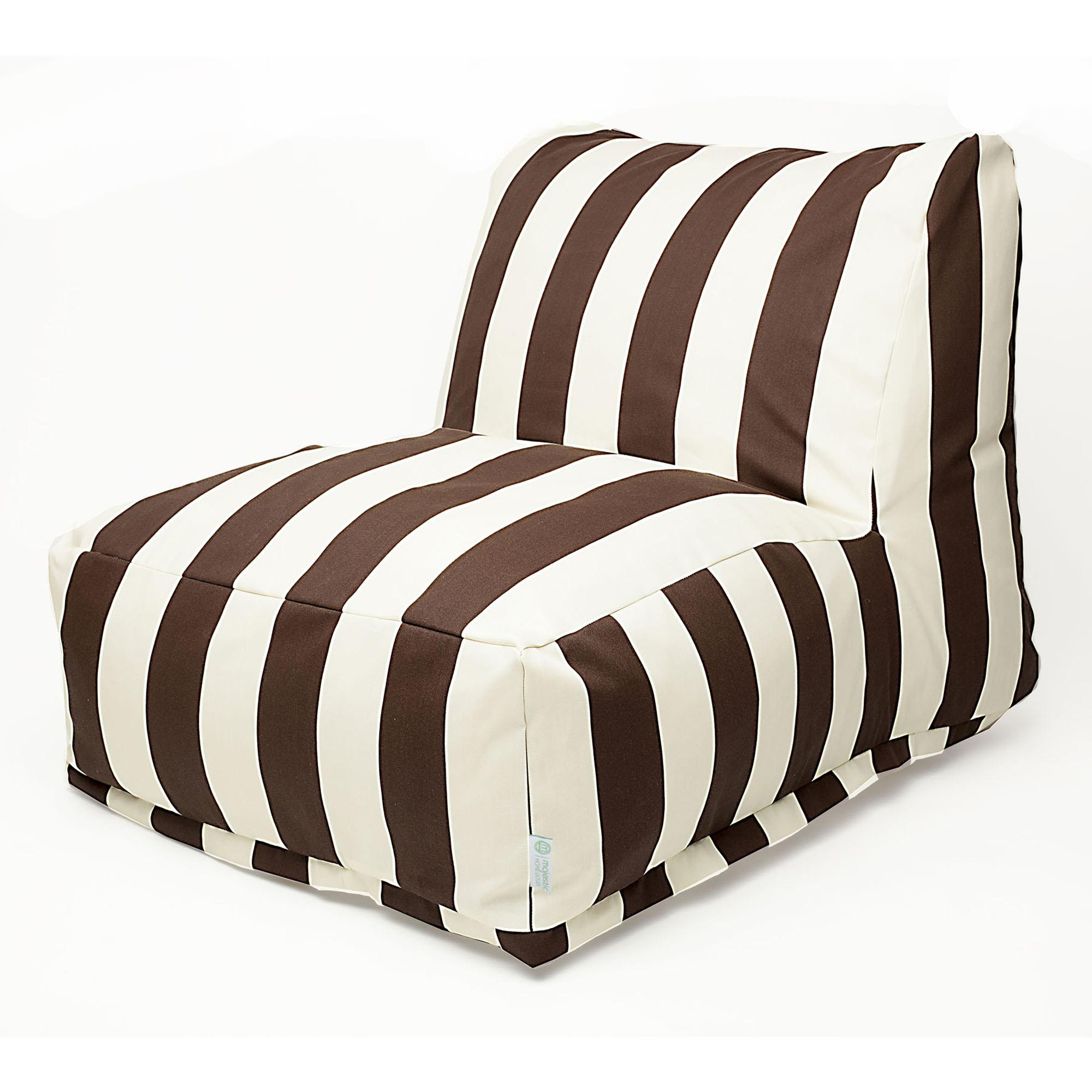 Outdoor Bean Bag Chairs Chocolate Vertical Stripe Outdoor Bean Bag Chair Dfohome