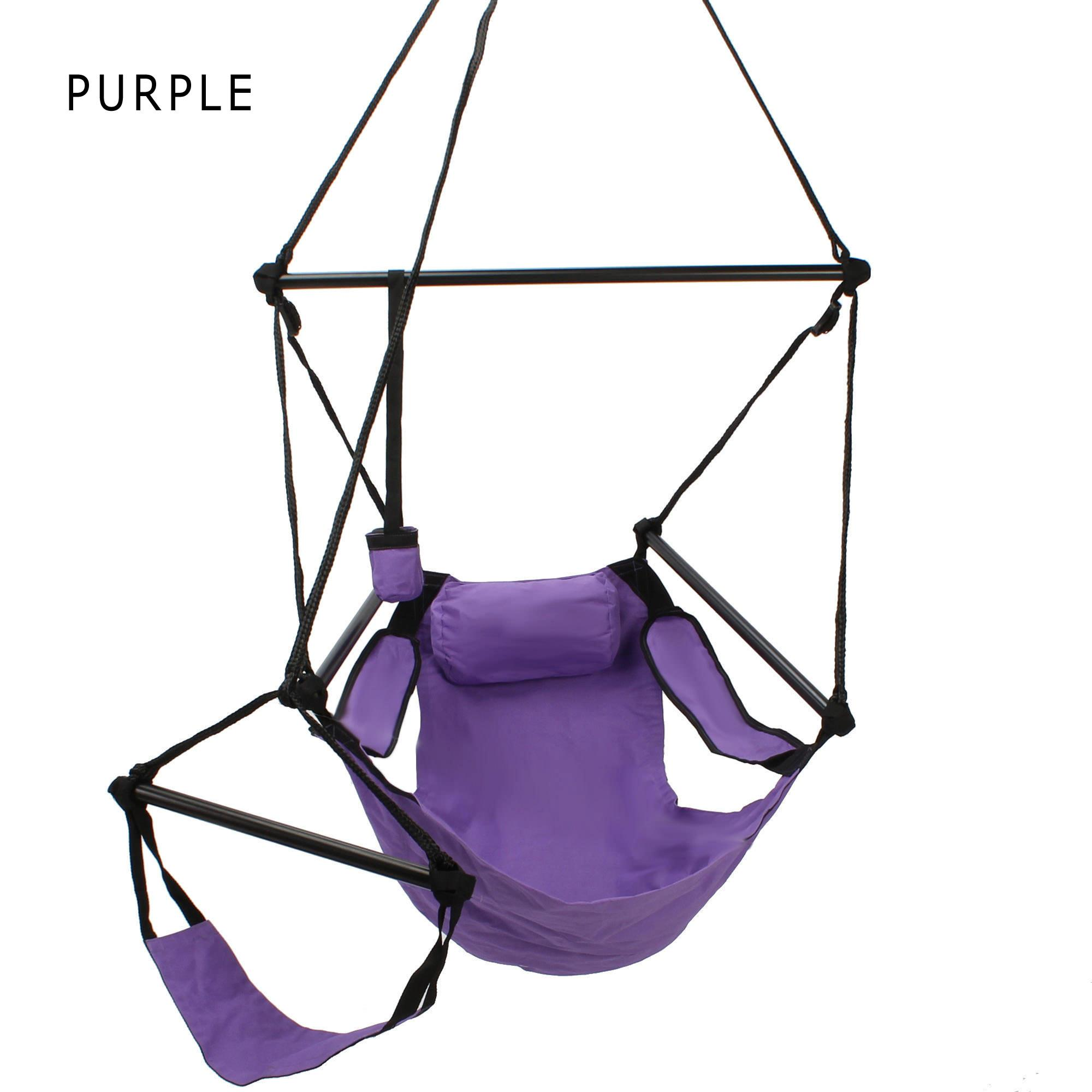 single person hammock chair modern kids deluxe swing hanging sky & footrest | dfohome