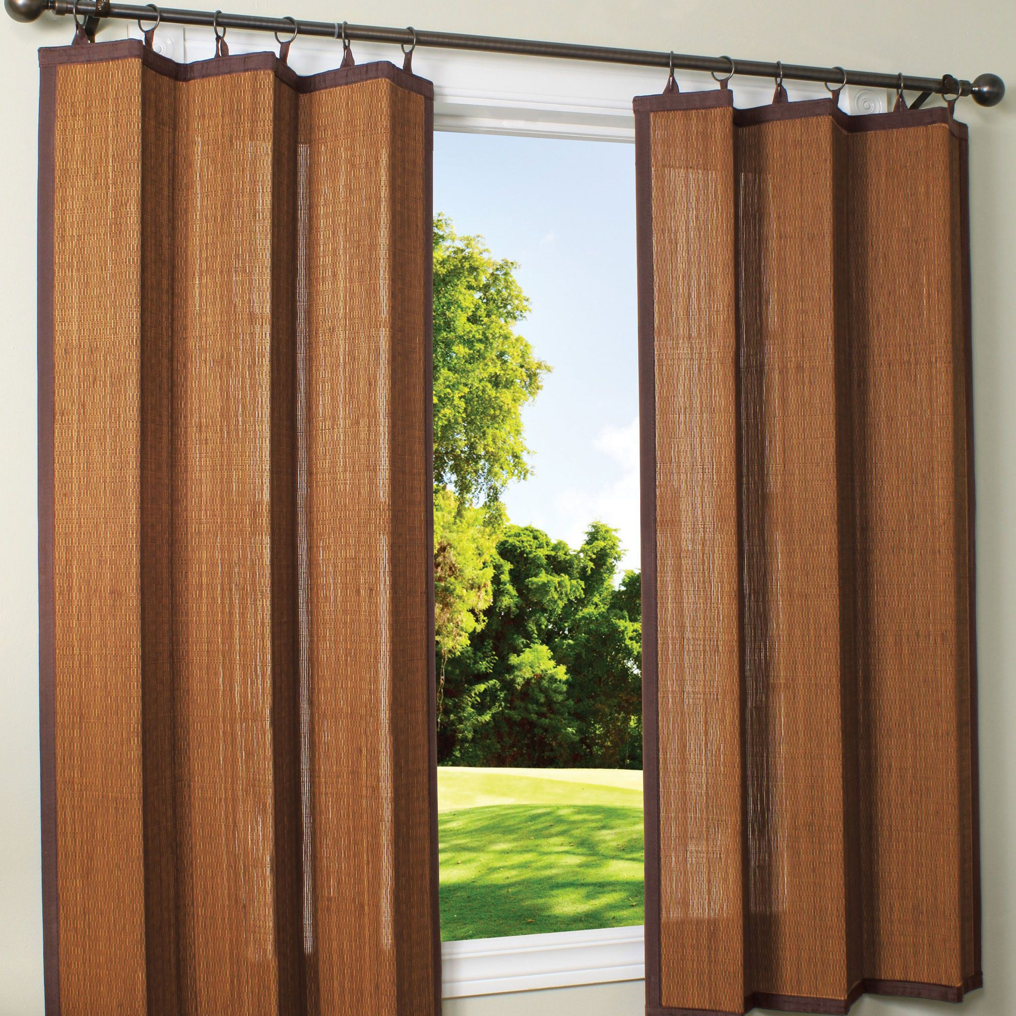 Espresso Bamboo Outdoor Curtain 40 x 63  Drapes  DFOHome