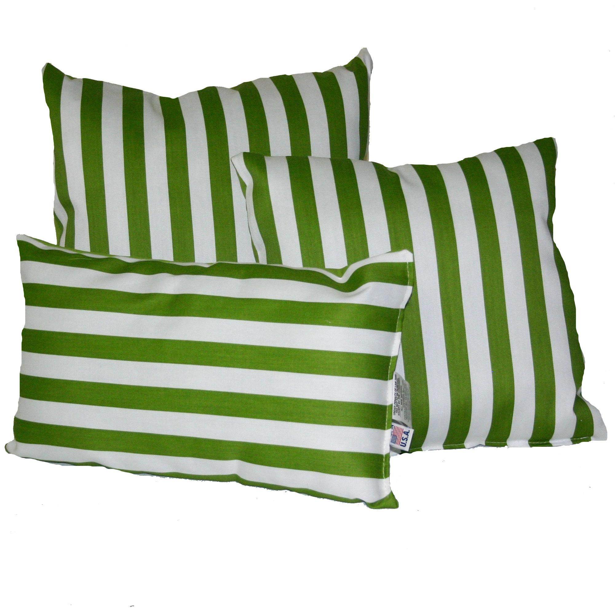 Macaw Green Stripe Outdoor Throw Pillow  DFOHome