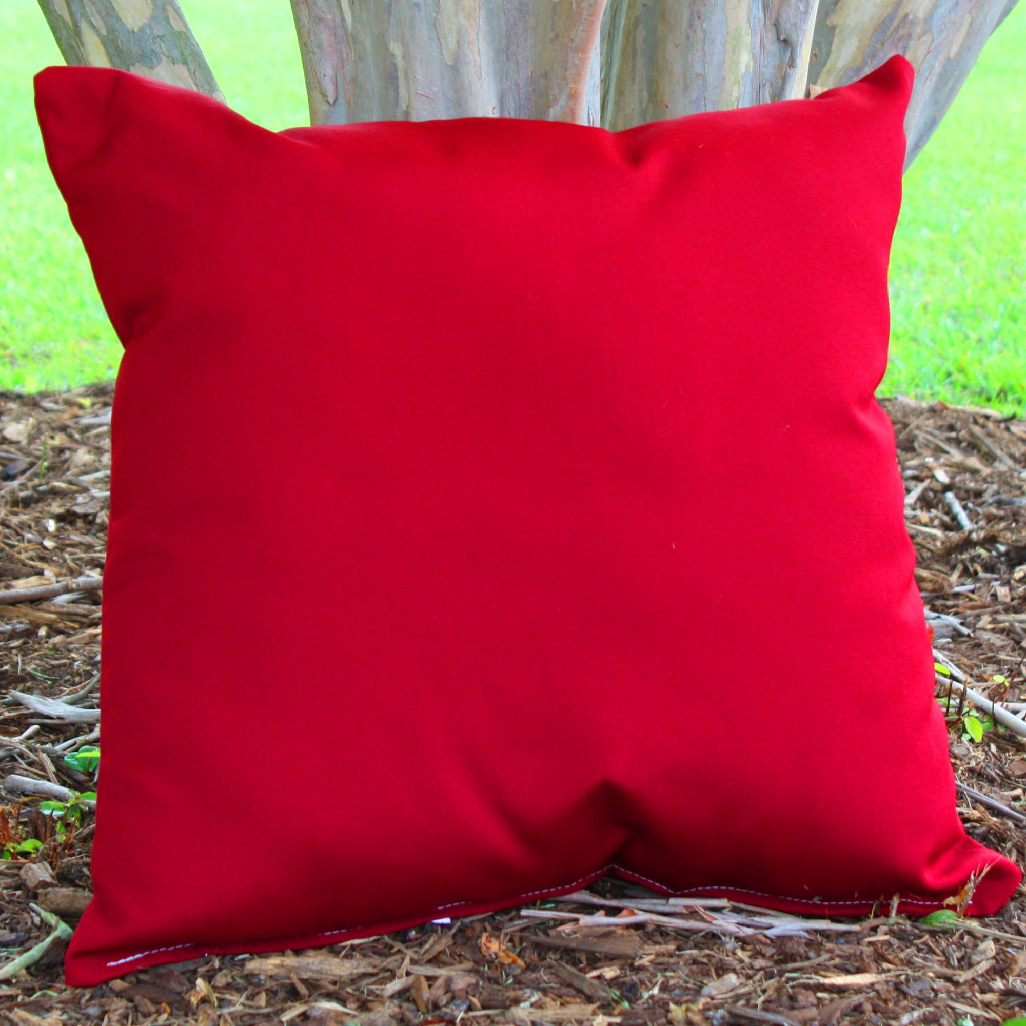 Shop Red Sunbrella Outdoor Throw Pillow 16 in x 16 in