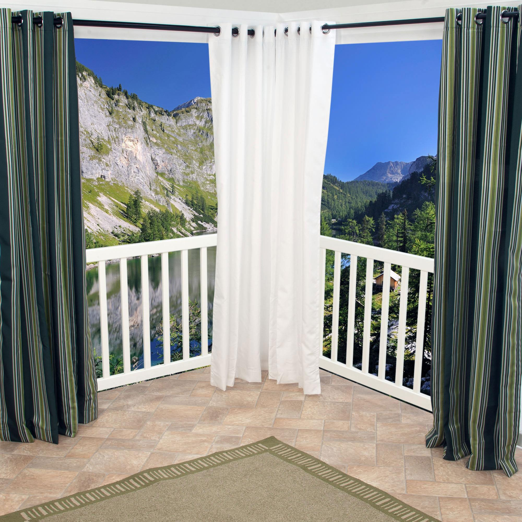 Great White Polyester Outdoor Curtains With Grommets DFOHome