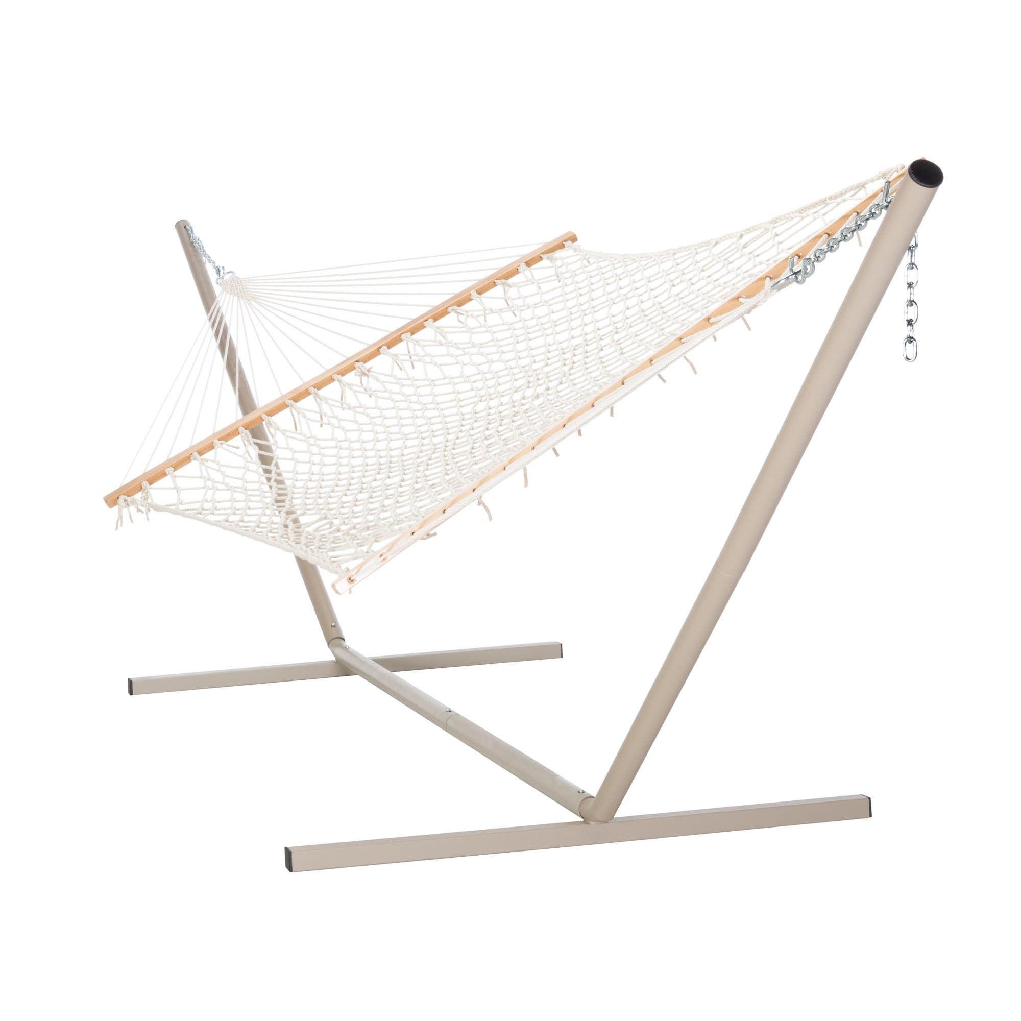 Castaway Large Cotton Rope Hammock With Stand