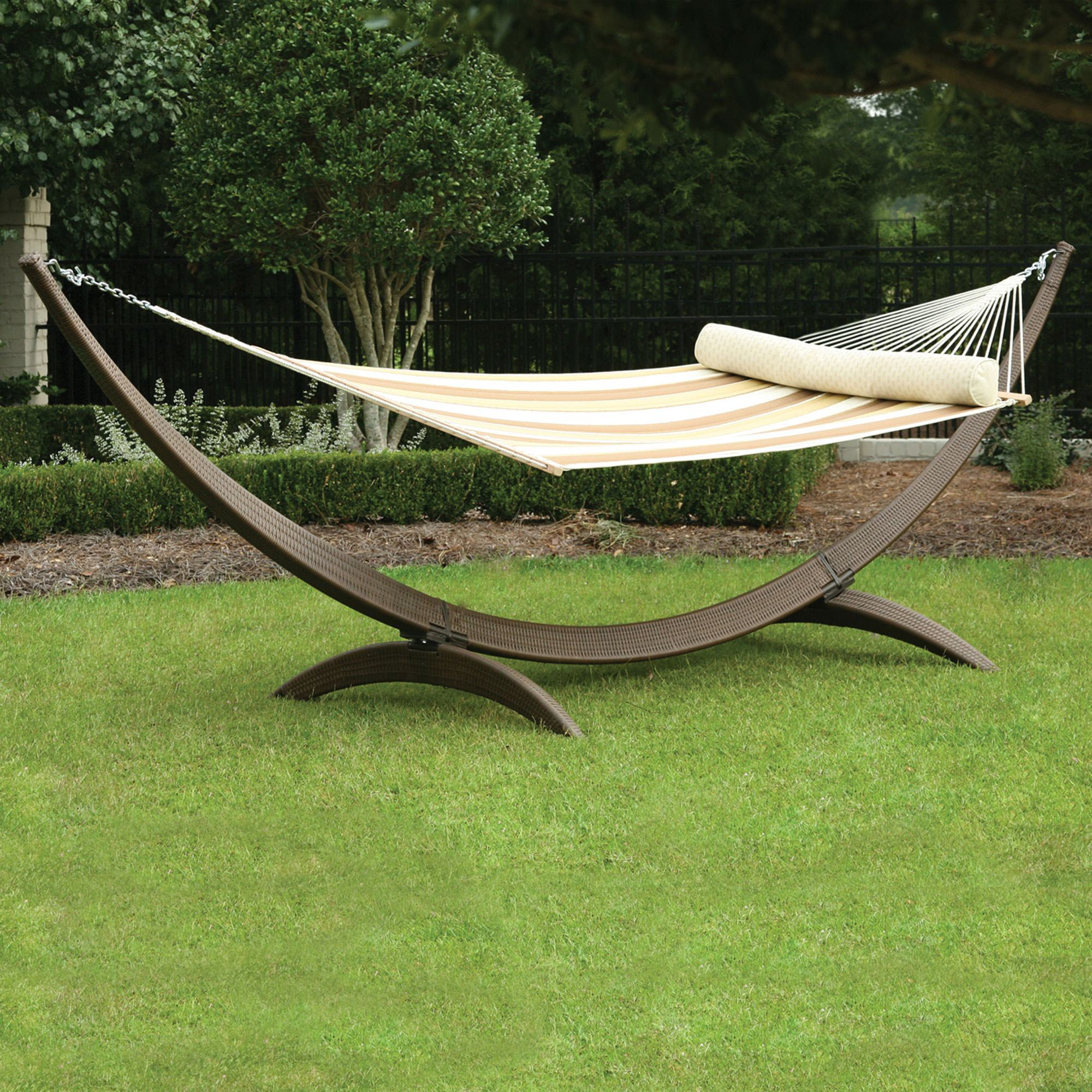 wicker hammock chair modern white leather desk roman arc all weather stand sar wick hatteras