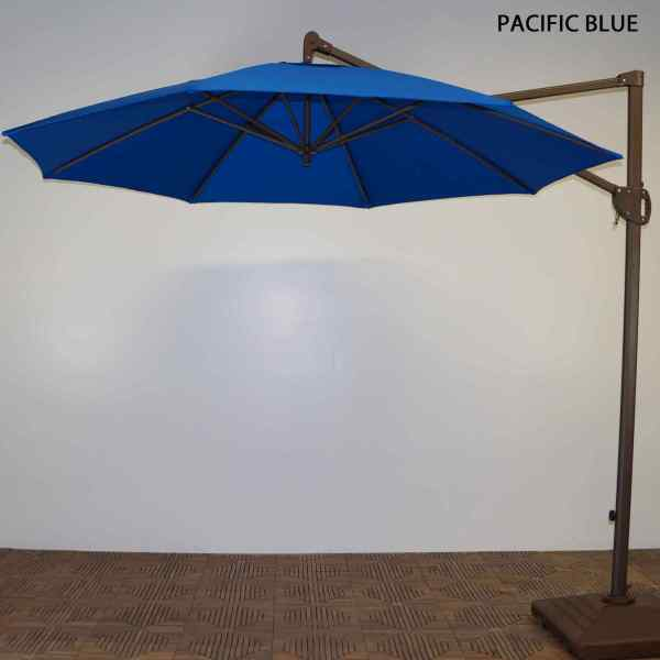 11 Ft. Trigger Lift Cantilever Umbrella With Forest Green Single Windvent Cover. Dfohome