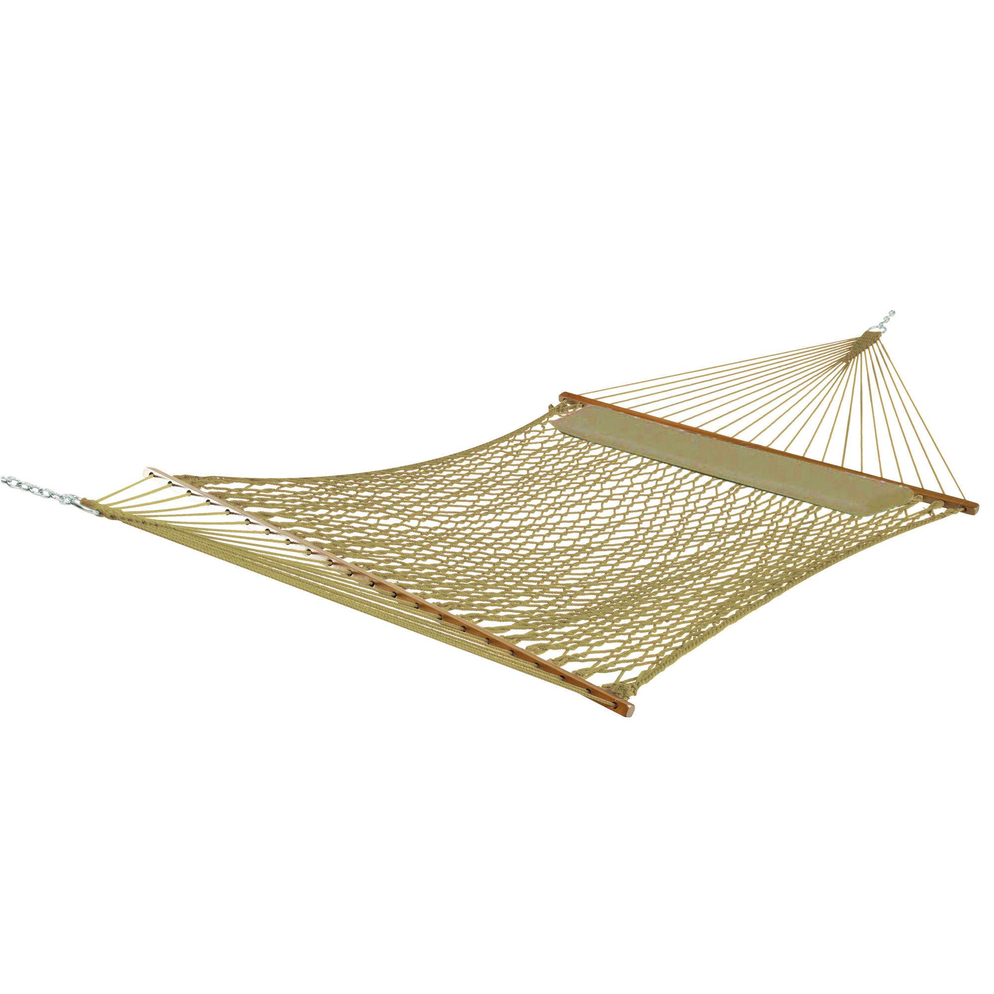 Deluxe Taupe Polyester Rope Hammock With Pillow