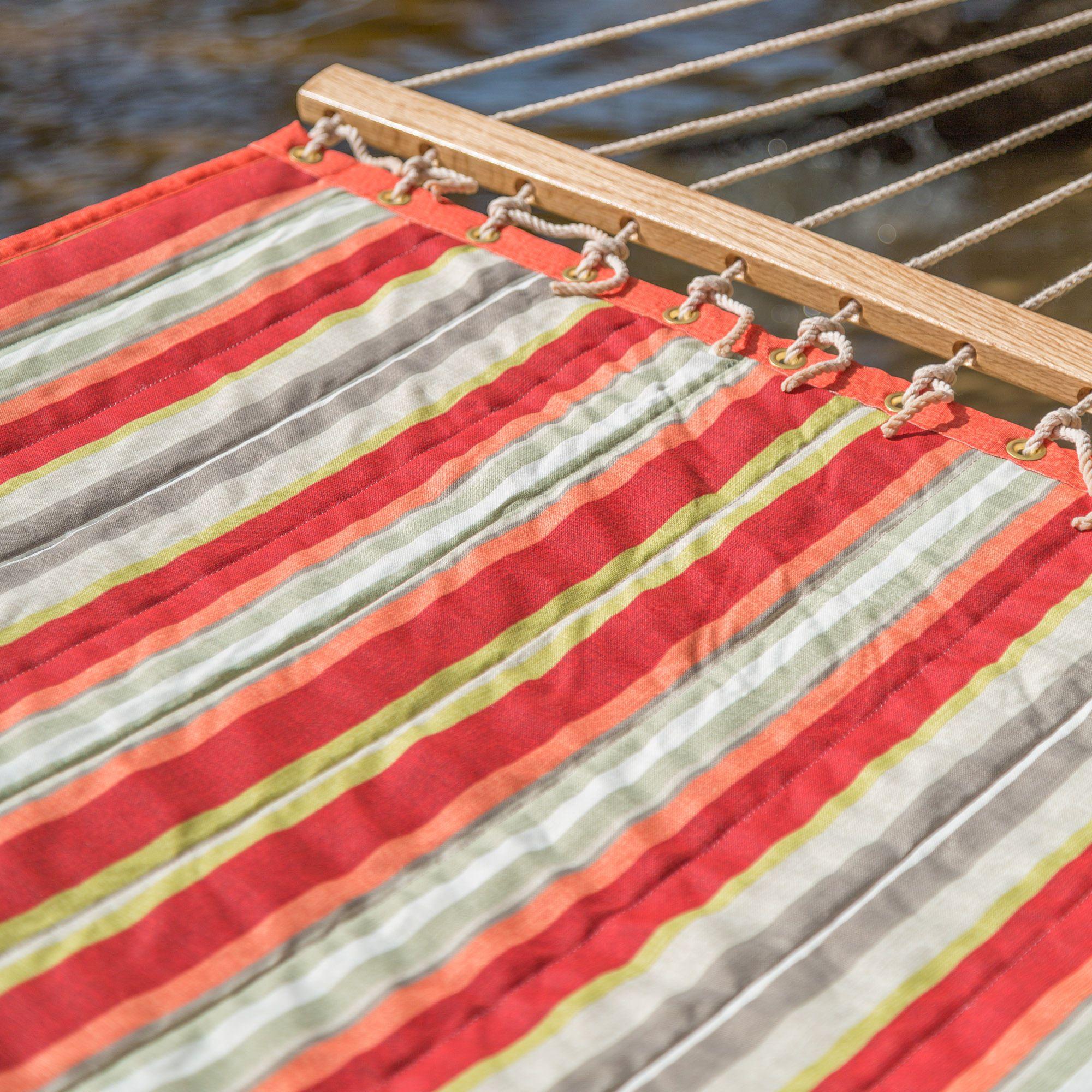 Large Red Amp Orange Stripe Quilted Hammock