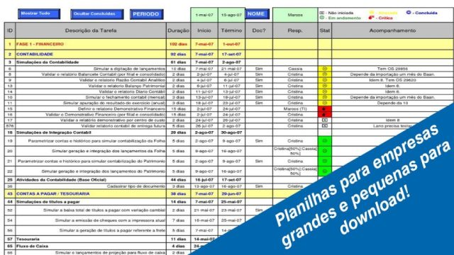 Planilhas Excel para gerenciamento de empresas