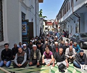 Muslims praying in the street outside the mosque in Batumi