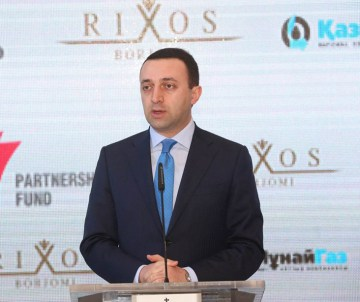 Irakli Garibashvili, the PM, at the opening ceremony of the five-stars hotel in Borjomi resort town (Press Office photo)