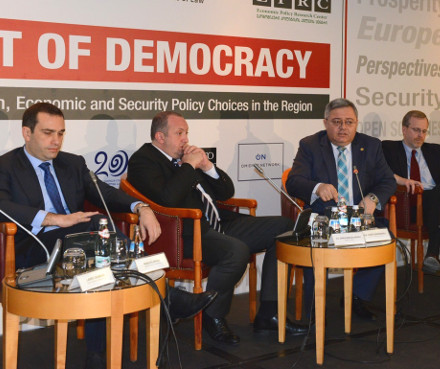 NATO organized a democracy conference in Tbilisi Thursday, along with Open Society, EPRC and the local US embassy.