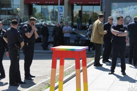 In the morning, a group of up to ten activists brought a large rainbow-coloured taburetka ('stool') in front of the Radisson Blu Hotel, where the conservative anti-LGBT Christian conference World Congress of Families (WCF) was being held. (Dfwatch)