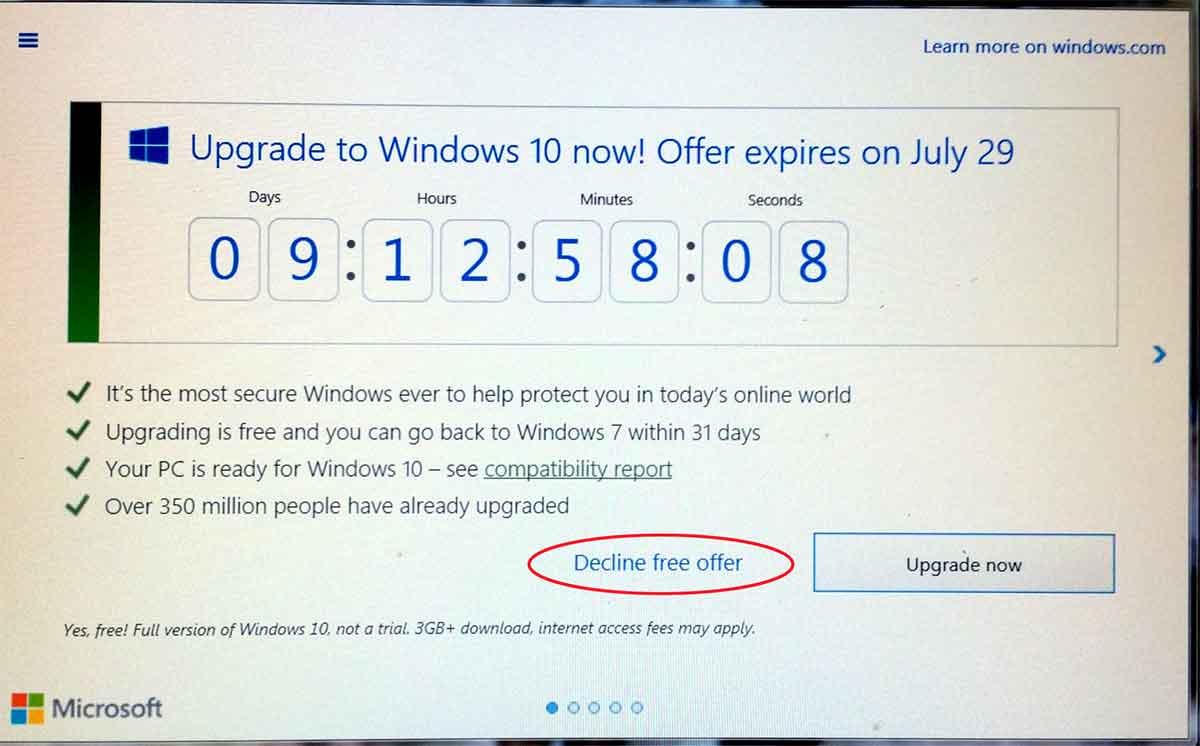 windows 7 to 10 upgrade online