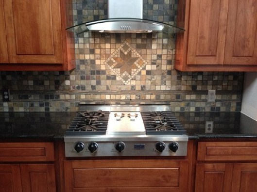 Counter with Slate Backsplash