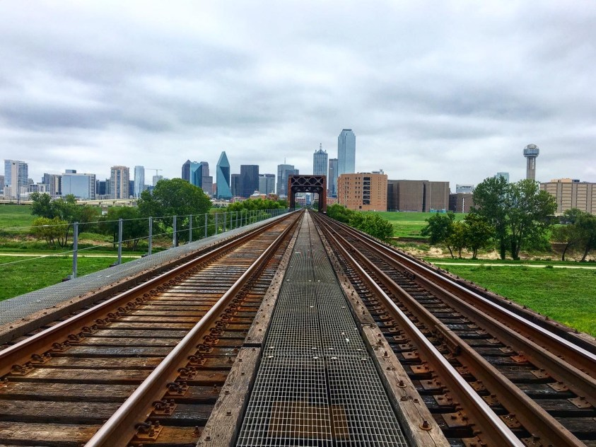 Downtown Dallas from the rail bridge going over the Trinity River, at Beckley Rd.