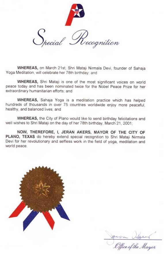 Plano_recognition_Shri_Mataji_Sahaja_Yoga_Meditation