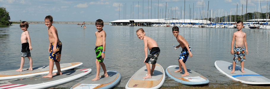DFW Surf Lake Grapevine- Kids on Surfboards
