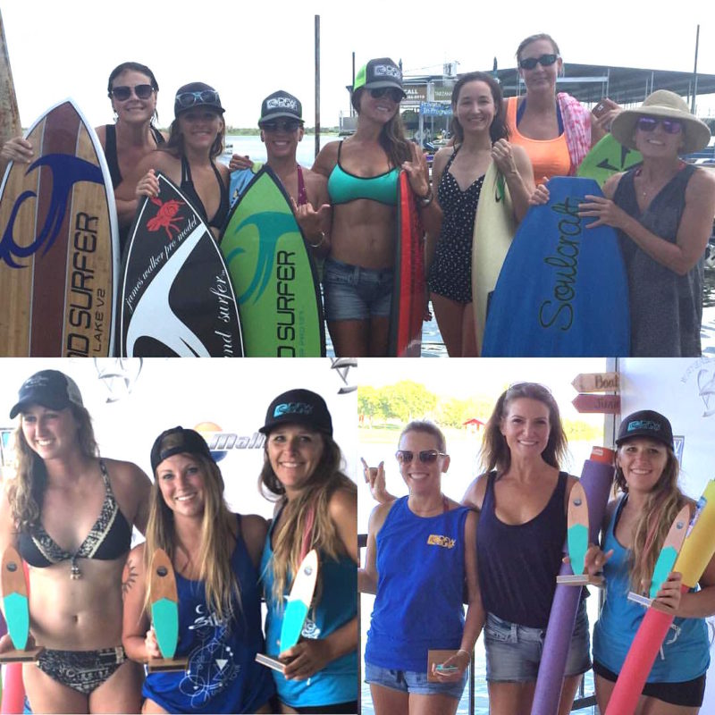 A collection of pictures featuring all of the women competitors at the annual Surf the Lake wakesurfing competition on Lake Lewisville