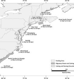 figure 1 map depicting the location and active periods of the north atlantic right whale seasonal management areas smas  [ 1840 x 1392 Pixel ]