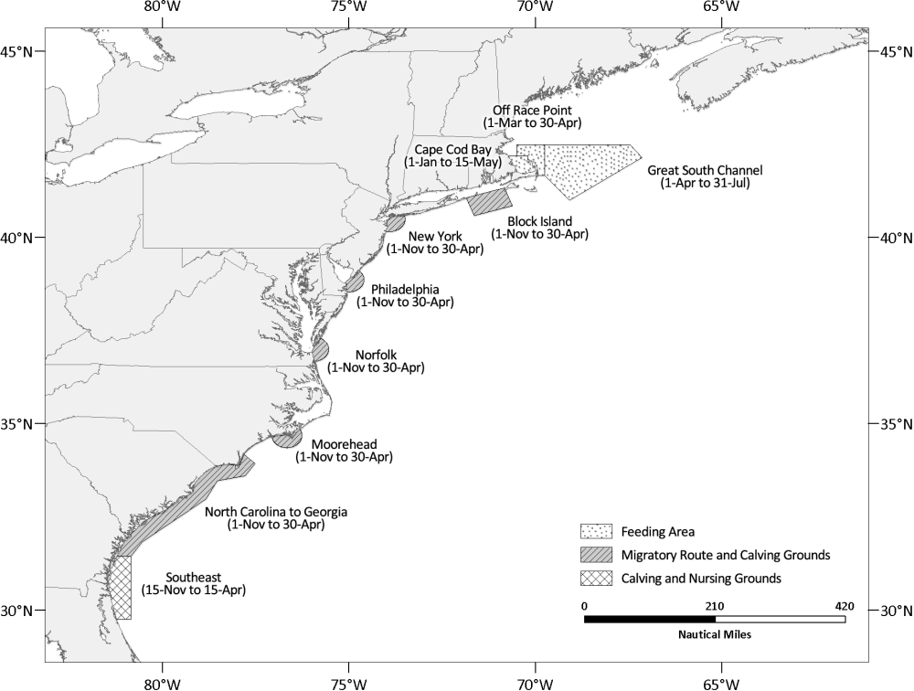 medium resolution of figure 1 map depicting the location and active periods of the north atlantic right whale seasonal management areas smas