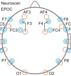 schematic diagram depicting the placement of eeg electrodes for neuroscan blue targets and epoc [ 1055 x 944 Pixel ]