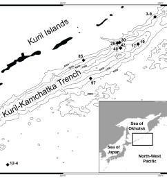map of the kuril kamchatka trench sampling area  [ 1156 x 1069 Pixel ]