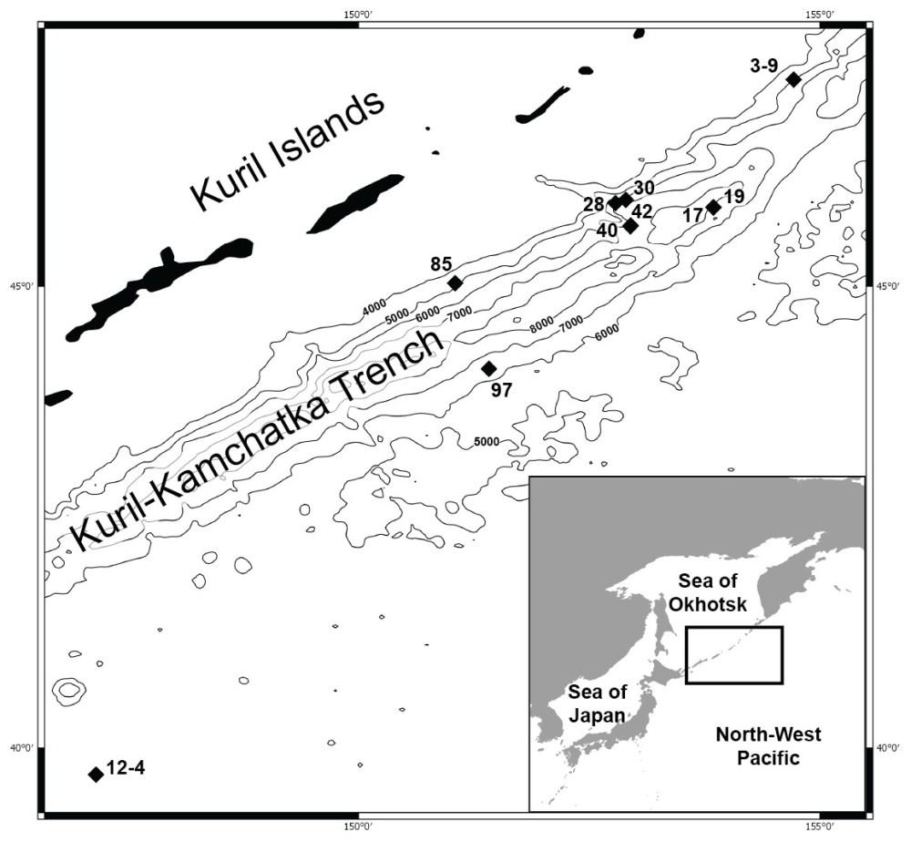 medium resolution of map of the kuril kamchatka trench sampling area