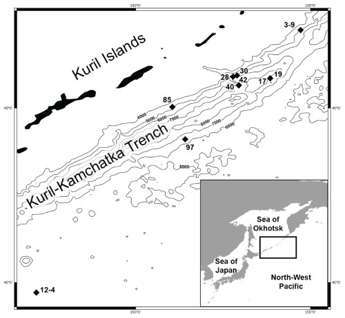 small resolution of map of the kuril kamchatka trench sampling area