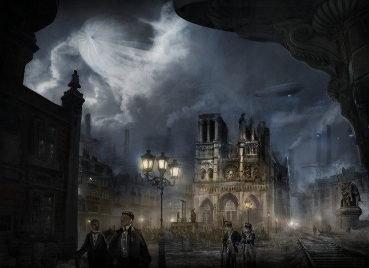 Plaza de Notre Dame destrozada tras la Guerra Civil con ejecución de demonio - Adrián Fernández Vicente