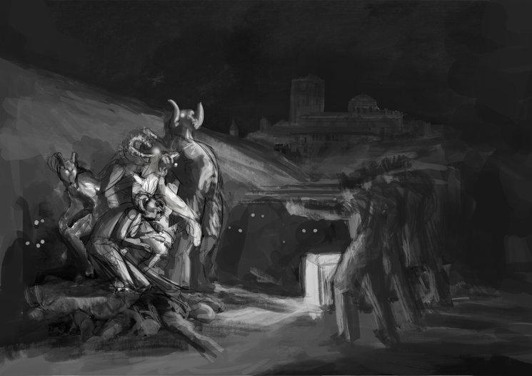 Soldados hispanos fusilando demonios con la catedral de Zamora de fondo - Primer boceto - Adrián Fernández