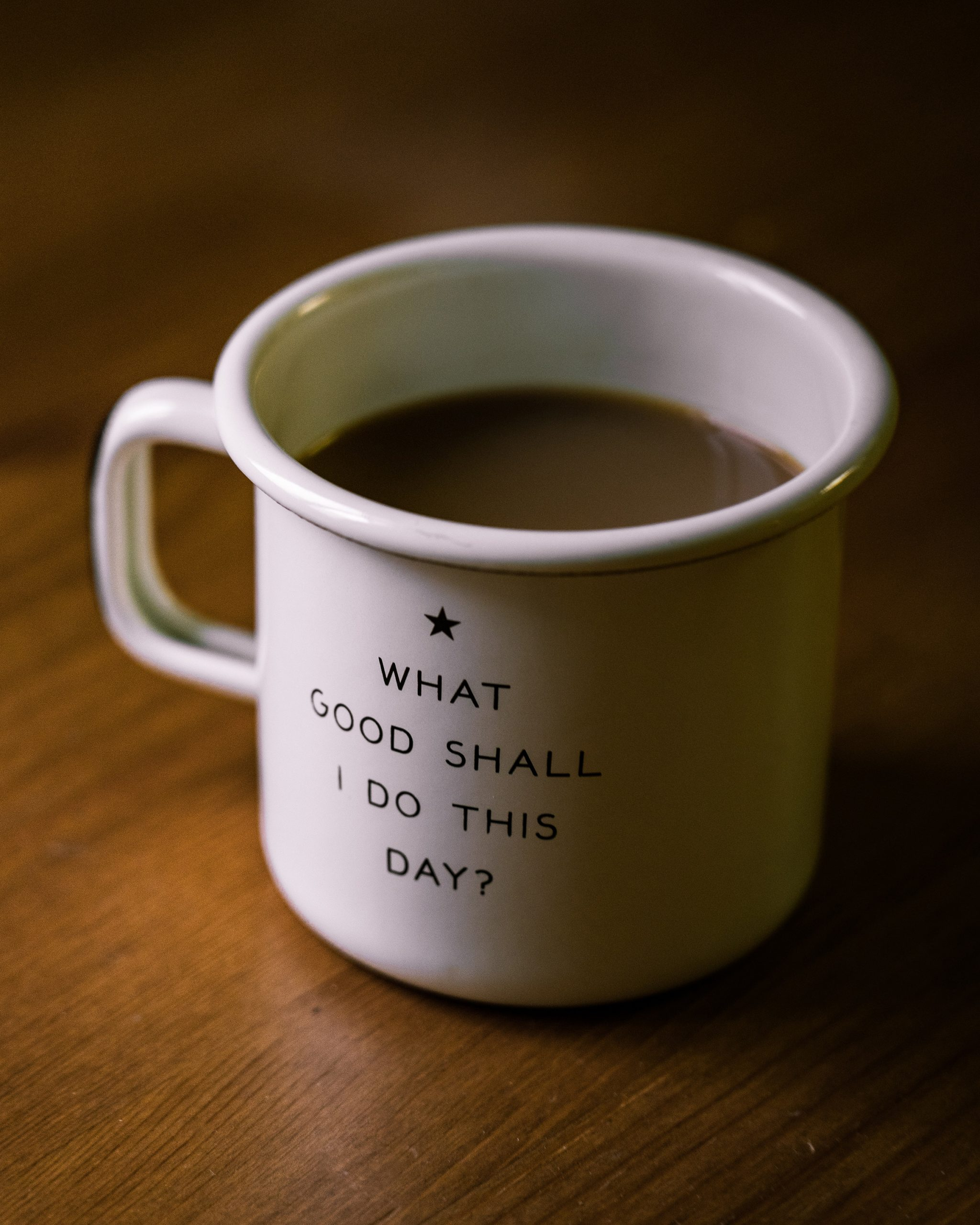 "coffee mug that reads ""what good can we do today?"""