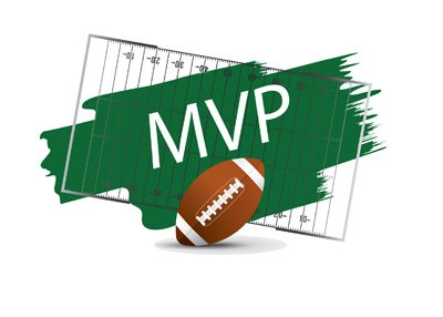 MVP letters next to football