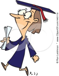 college cartoon graduate female walking education poster print degree secondary udl studying flame twin
