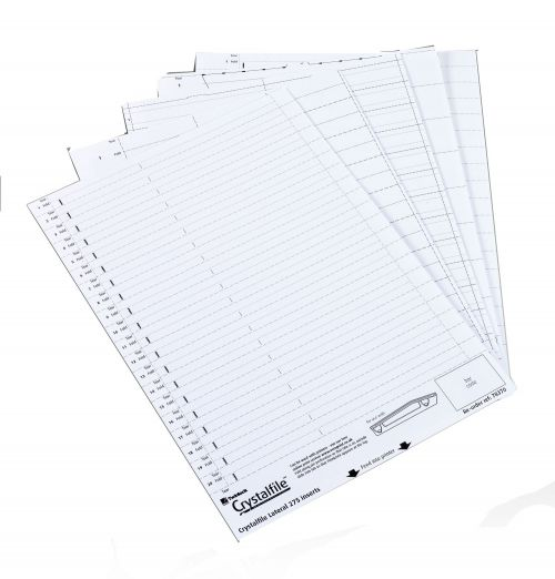 Rexel Crystalfile Printable Filing Inserts White (Pack of