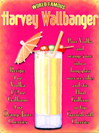 World Famous Harvey Wallbanger Cocktail Recipe Tin Sign Buy Online