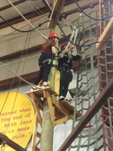 conquering our different challenges in the indoor high ropes course