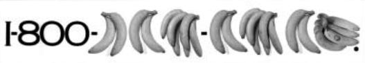 Gambar 5. Contoh iklan yang menggunakan prinsip similarity, audience akan mengelompokkan visual berdasarkan kesamaan, lebih terlihat sekelompok angka dan buah pisang daripada deretan angka nomor telepon (sumber: CA 91, Advertising Annual)