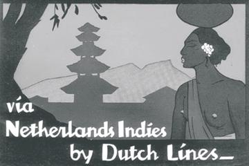 Promosi penerbangan Dutch Lines ke Hindia Belanda, menawarkan eksotika timur dengan latar belakang rumah Dewa dan perempuan Bali. (Sumber: Lavis Flicker Documentary)